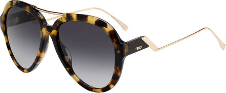 Fendi Acetate & Metal Aviator Sunglasses