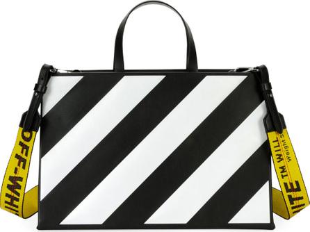 Off White Medium Diagonal-Stripe Box Tote Bag