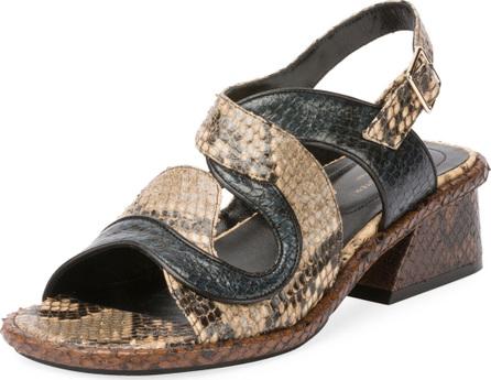 Dries Van Noten Asymmetric Metallic Sandal