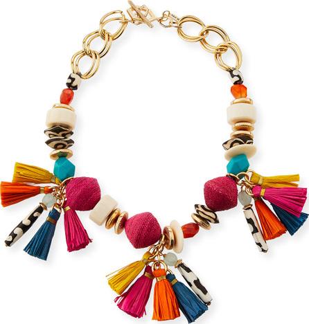 Akola Short Multi-Bead & Tassel Necklace