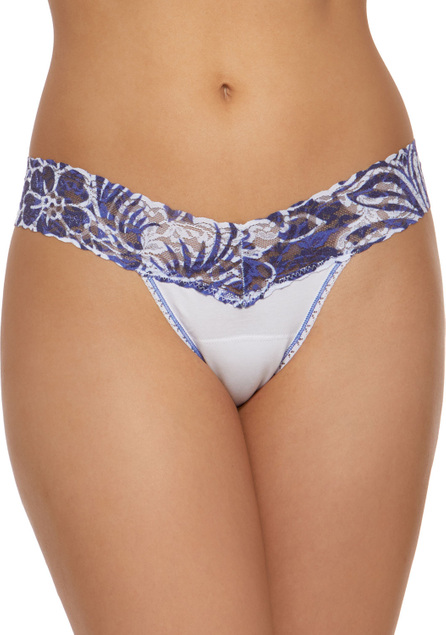 Hanky Panky Lace-Trim Low-Rise Cotton Thong
