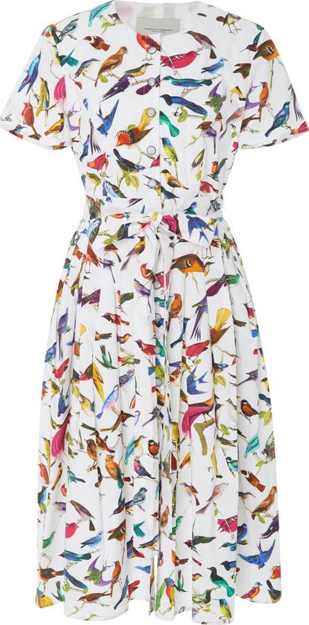 Carolina Herrera Pleated Printed Stretch-Cotton Dress