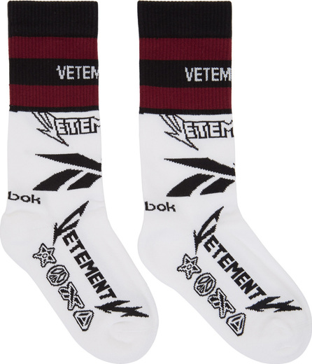 Vetements White Reebok Edition Metal Logo Socks