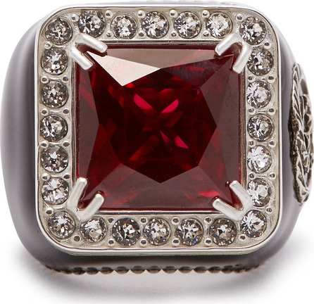 Gucci Crystal-encrusted GG-logo signet ring