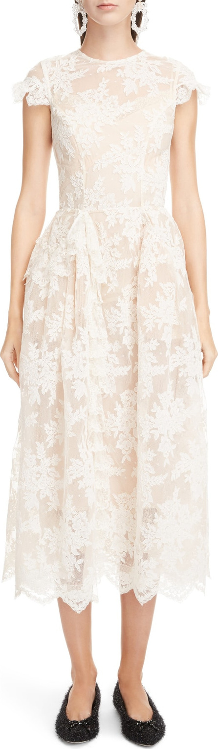 Simone Rocha Scallop Hem Corded Lace Dress