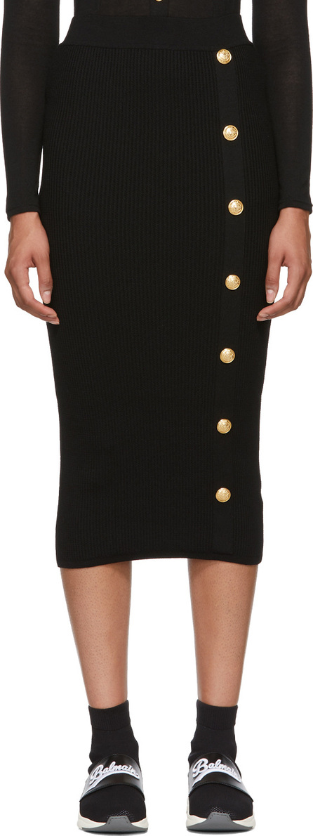 Balmain Black Long Skirt