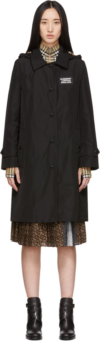 Burberry London England Black Oxclose Pimlico Hooded Coat