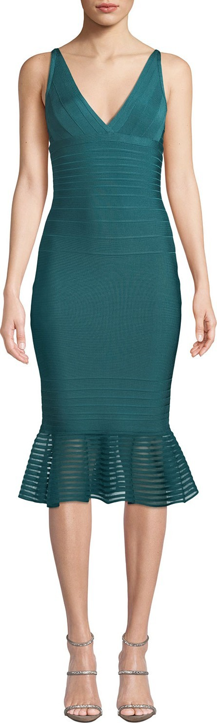Herve Leger Sleeveless Tulle-Striped Illusion-Flounce Dress