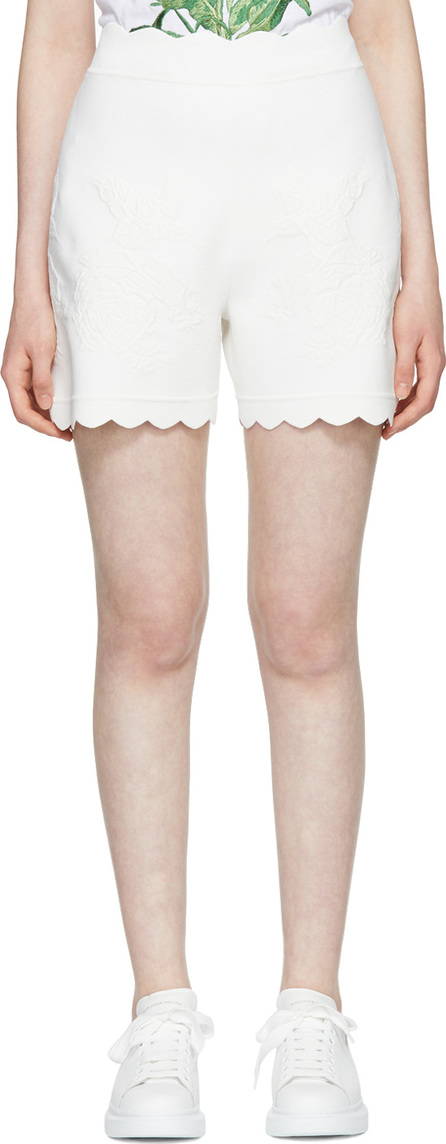 Alexander McQueen Ivory Scalloped Knit Shorts