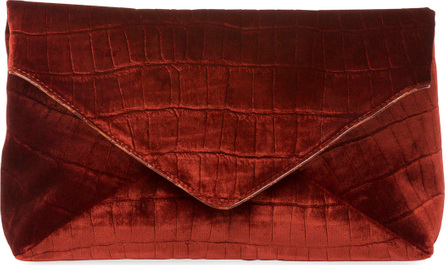 Dries Van Noten Crocodile-Embossed Velvet Envelope Clutch Bag