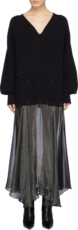 a0c3026443 Esteban Cortazar Detachable metallic stripe skirt sweater dress