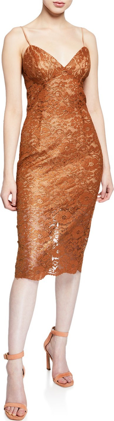 Bardot Golden Lace Cocktail Dress