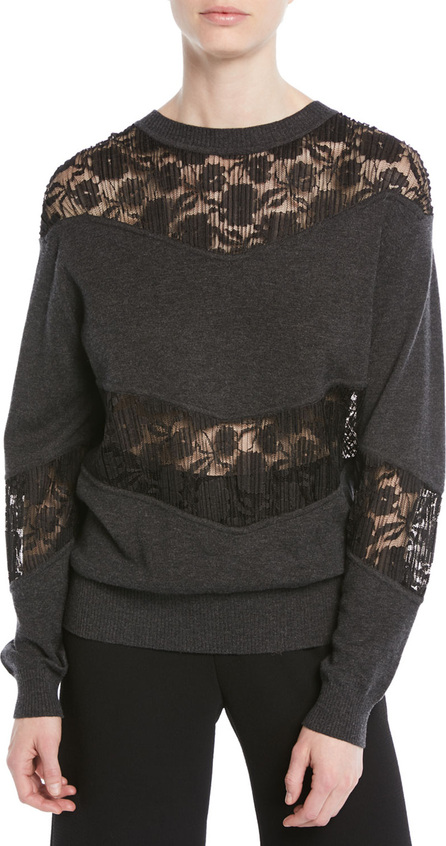 See By Chloé Crewneck Pullover Sweatshirt w/ Lace Inserts