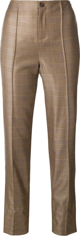 Ganni Plaid straight leg trousers