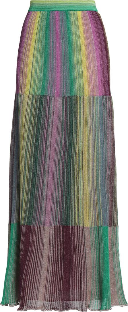 M Missoni Metallic striped crochet-knit maxi skirt