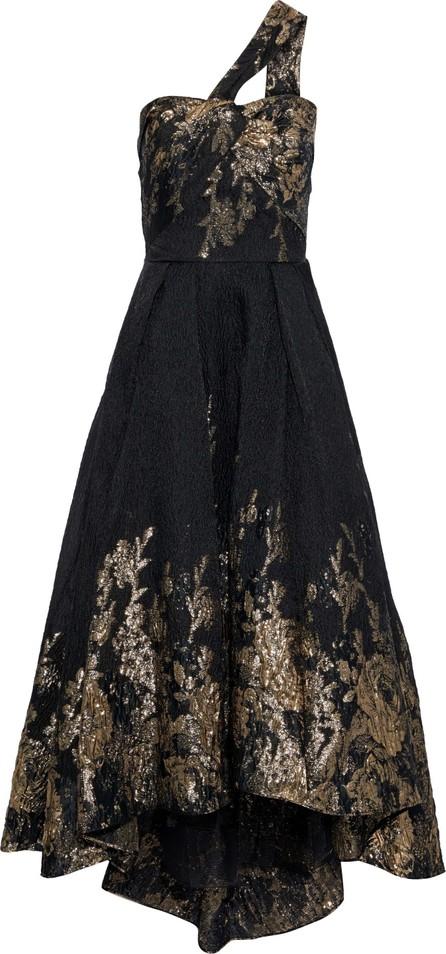 Marchesa Notte One-shoulder twist-front fil coupé cloqué gown