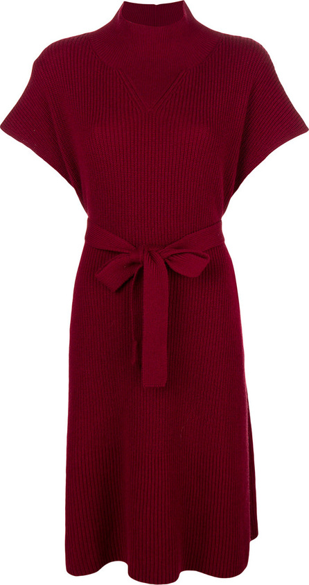 Agnona Ribbed high neck midi dress