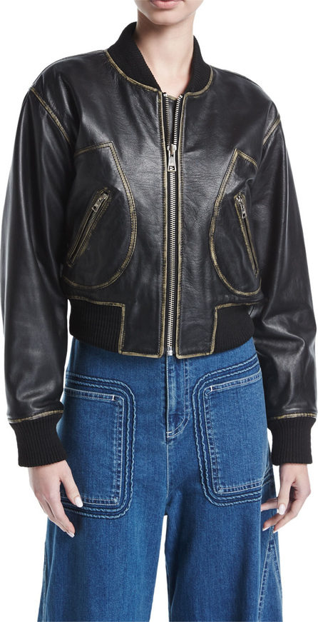 See By Chloé Zip-Front Long-Sleeve Leather Jacket