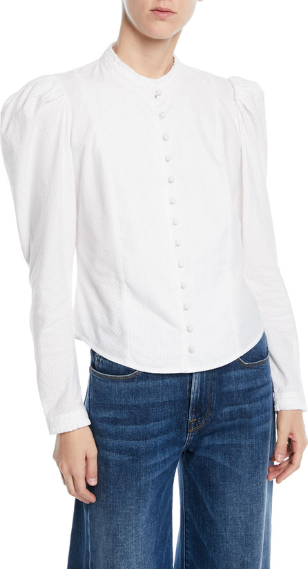 FRAME DENIM Victorian Striped Puff-Sleeve Button-Front Blouse