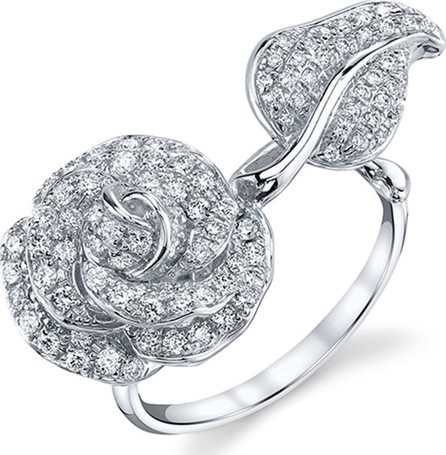 Borgioni Diamond Garden Rose Ring in 18K White Gold, Size 6.75