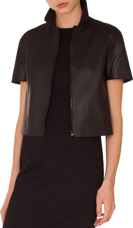 Akris Punto Kent-Collar Short-Sleeve Zip-Front Perforated Napa Leather Jacket