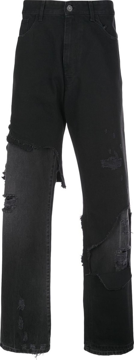 Raf Simons Ripped-panel denim jeans