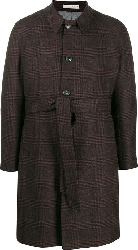0909 Belted check single-breasted coat