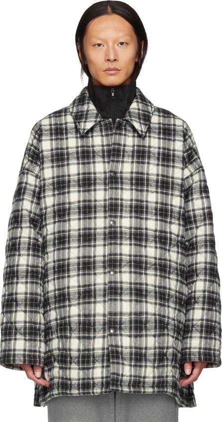 Balenciaga Grey Check Flannel Padded Shirt Coat