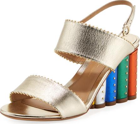 Salvatore Ferragamo Metallic City Sandal with Rainbow Heel
