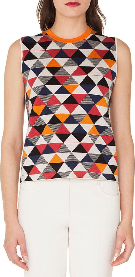 Akris Sleeveless Diamond-Jacquard Cashmere-Silk Knit Tank