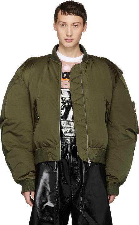 Chen Peng Green Down Pilot Puffer Bomber Jacket