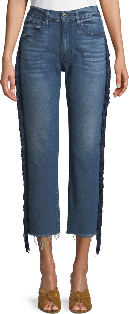 3X1 W3 Higher Ground Straight Crop Jeans with Fringe Sides