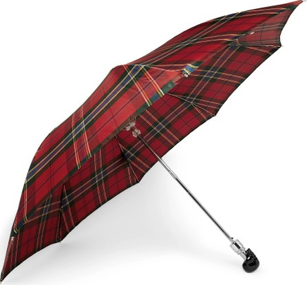 Alexander McQueen Checked Skull-Handle Umbrella