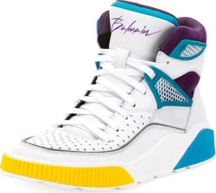 Balmain Men's Kery High-Top Leather Sneakers