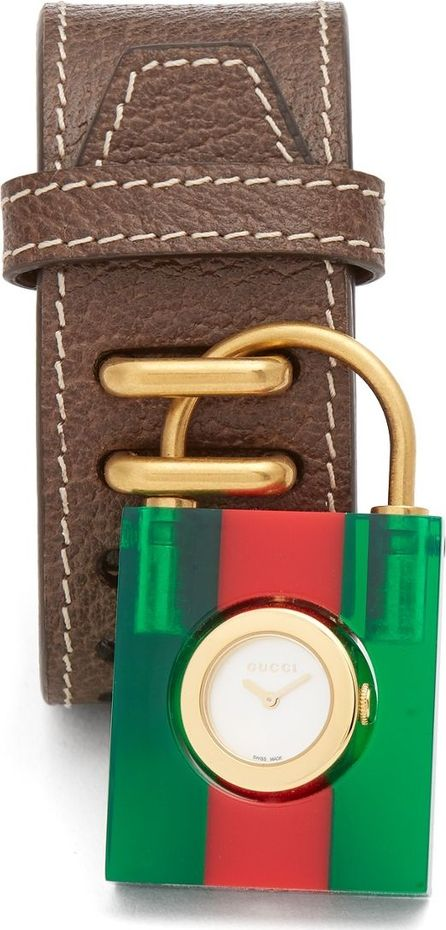 Gucci Web-stripe Plexiglas padlock leather watch