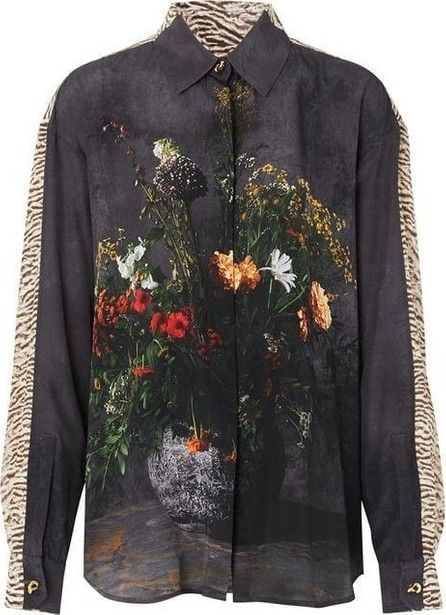 Burberry London England Floral And Leopard Print Silk Shirt