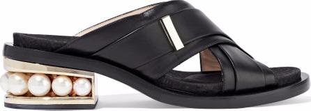 Nicholas Kirkwood Faux pearl-embellished leather mules