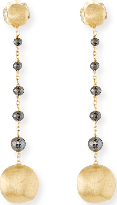Marco Bicego 18k Africa Raw Black Diamond Drop Earrings