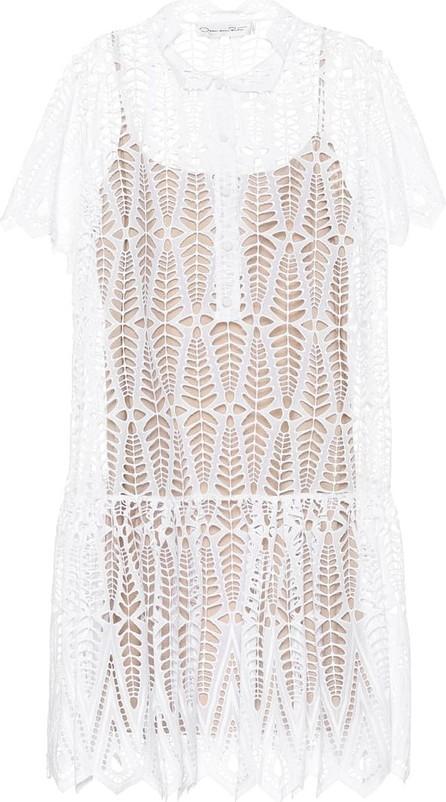 Oscar De La Renta Eyelet-cotton dress