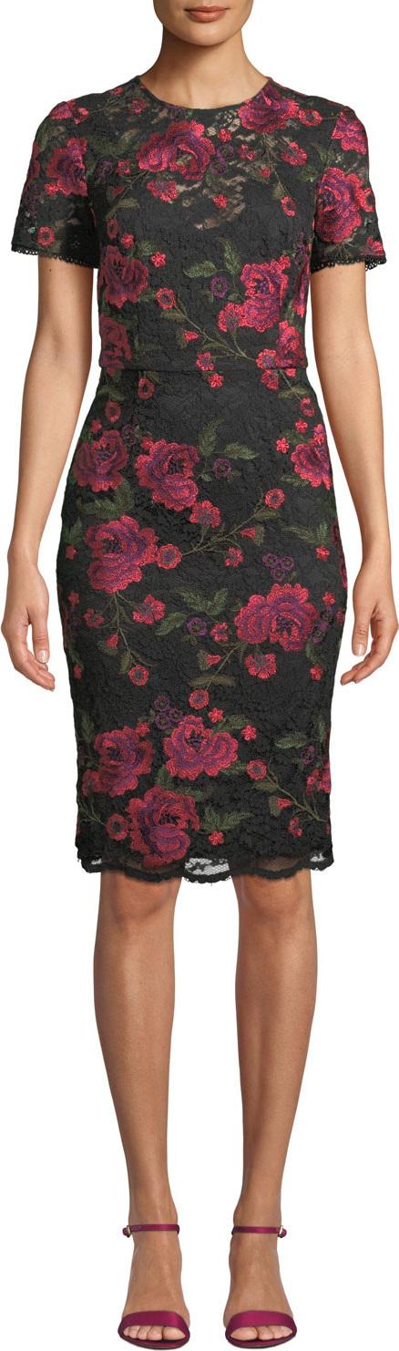Trina Turk Ana Sofia Short-Sleeve Floral Lace Dress