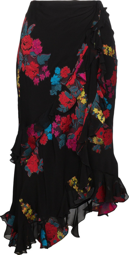 Etro Floral embroidered midi wrap asymmetric skirt