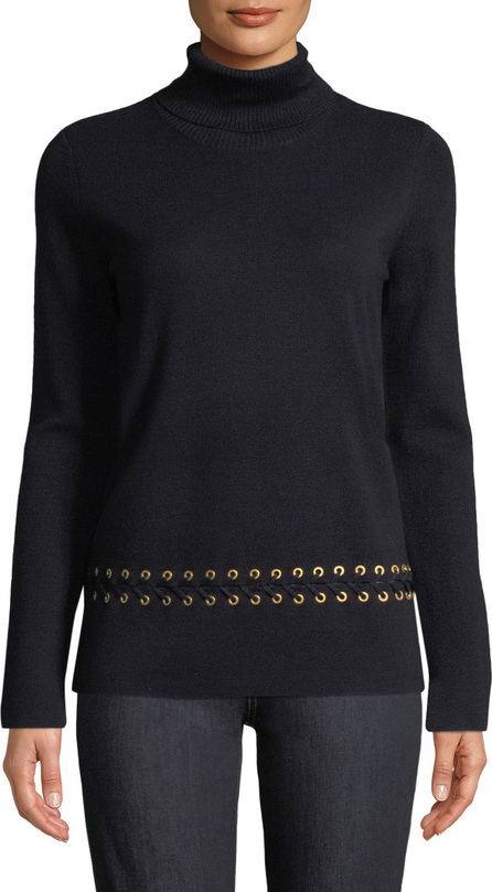 Tory Burch Turtleneck Sweater w/ Grommet Trim