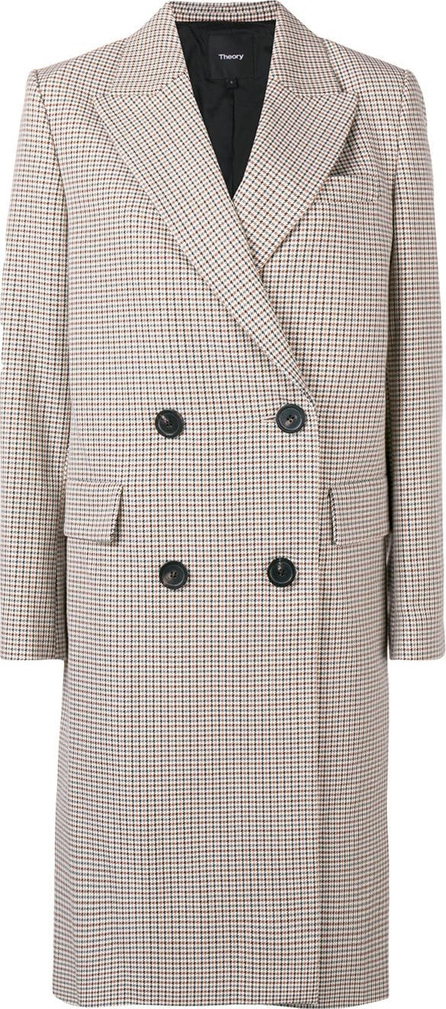 Theory Checked double-breasted coat
