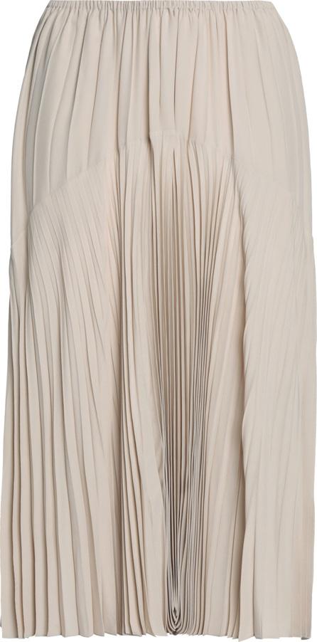 Vince Plissé-paneled crepe de chine midi skirt