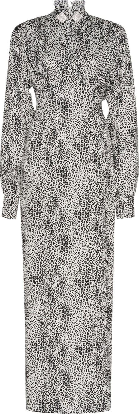 Alessandra Rich Silk Jacquard Leopard Dress