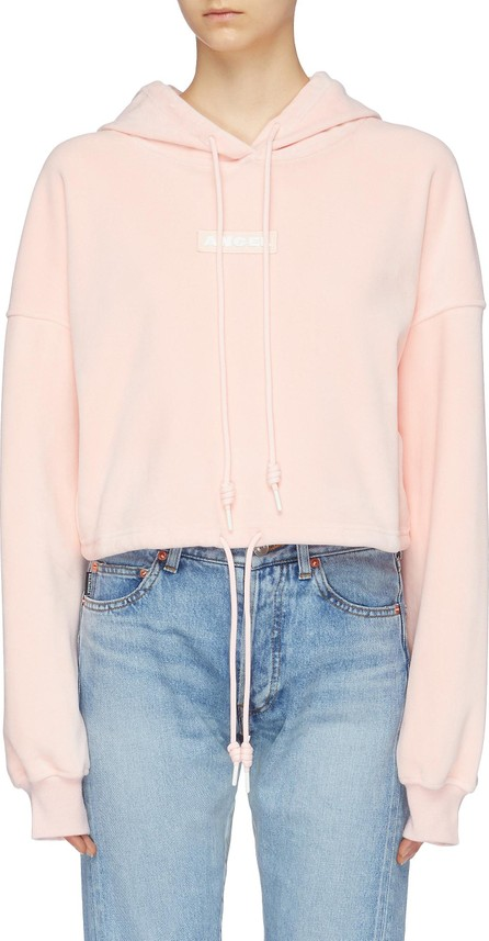 Angel Chen Logo patch cropped velour hoodie