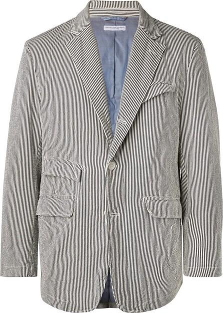 Engineered Garments Blue Unstructured Striped Cotton-Seersucker Blazer
