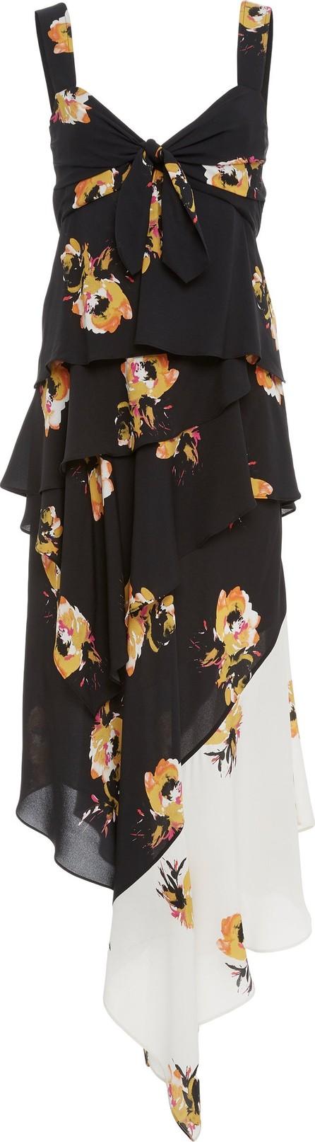 A.L.C. Natalia Mixed Ruffled Silk Midi Dress