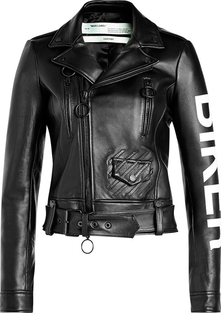 Off White Leather Biker Jacket