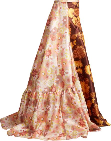 Richard Quinn Asymmetric floral-print strapless gown